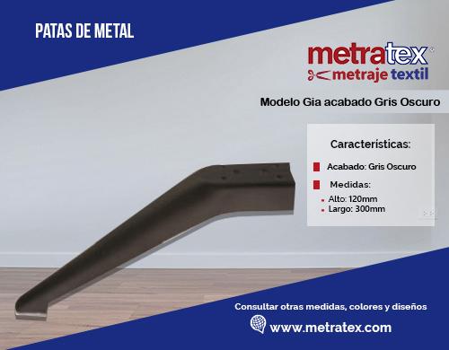 Patas metálicas modelo gia acabado gris oscuro